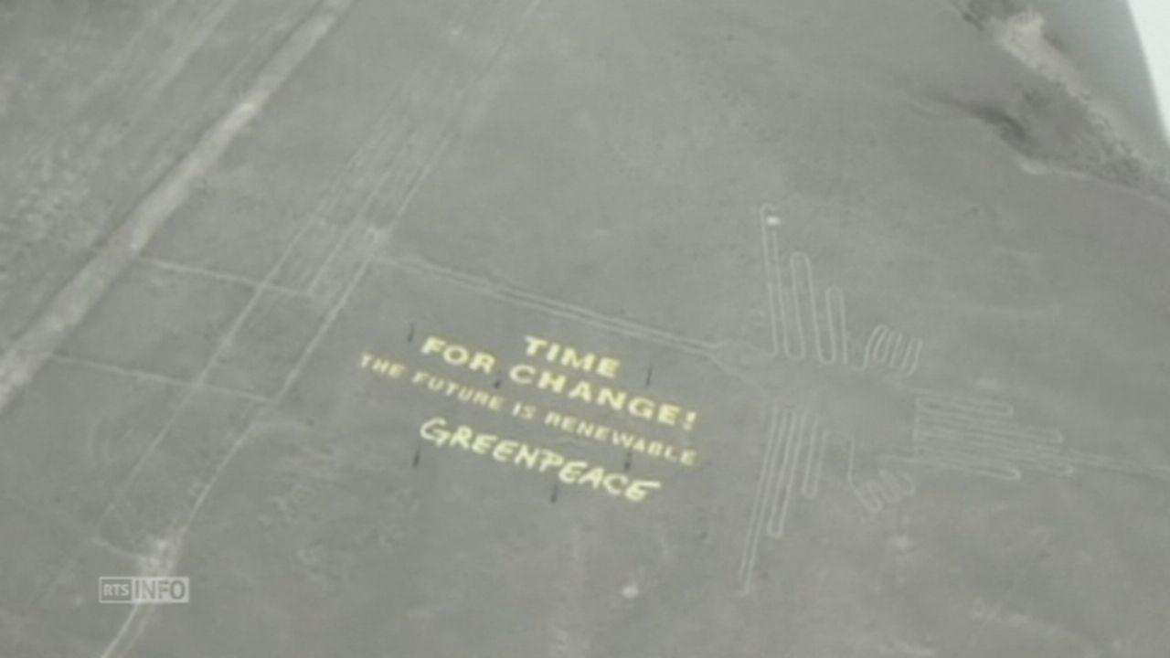 Greenpeace endommage les lignes de Nazca au Pérou [RTS]