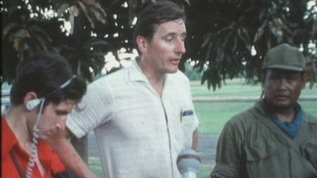 Guy Ackermann, journaliste de guerre au Cambodge en 1970. [RTS]