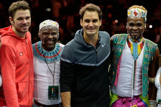 La partie a permis de récolter 1,3 million de francs pour la Fondation de Roger Federer. [Walter Bieri  - Keystone]