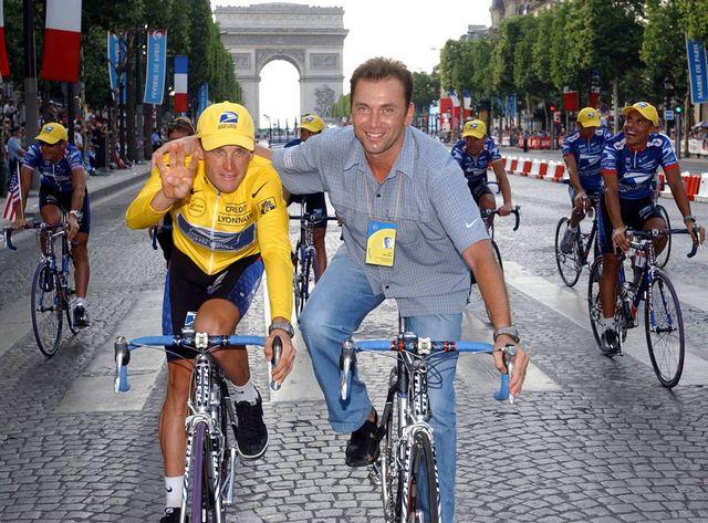Bruyneel a dirigé Armstrong lors de ses 7 succès au Tour de France. [AFP  - Reuters]