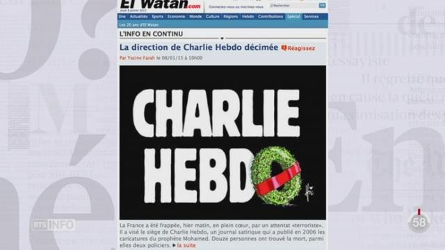 Attentat à Charlie Hebdo: revue de presse internationale avec Abraham Zisyadis [RTS]