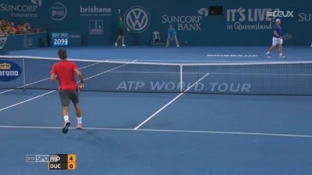 Tennis: Roger Federer se qualifie pour la finale de Brisbane en battant l'Australien Duckworth sur un score net (6-0, 6-1) [RTS]