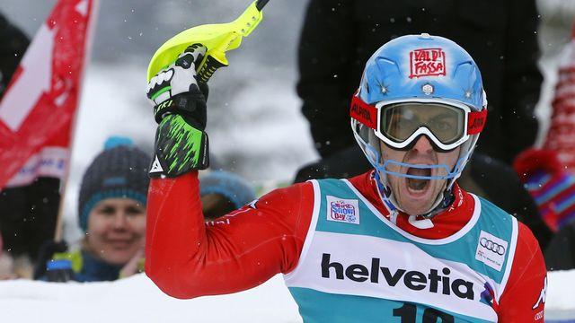 Après trois podiums en slalom dans sa carrière, Stefano Gross décroche un premier succès. [Ruben Sprich  - Reuters]