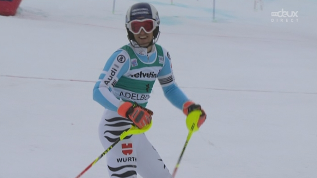 14h02 Slalom messieurs, 2e manche: Fritz Dopfer, battu sur le fil, finit à la deuxième place [RTS]