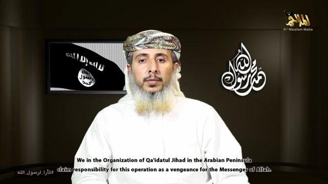 """Dans cette vidéo, AQPA """"revendique la responsabilité"""" de l'attaque de Charlie Hebdo, qualifiée de """"vengeance pour le messager d'Allah"""". [capture d'écran YouTube]"""