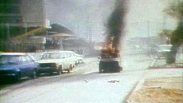 Un attentat à la voiture piégée, au coeur de Beyrouth, en 1982.