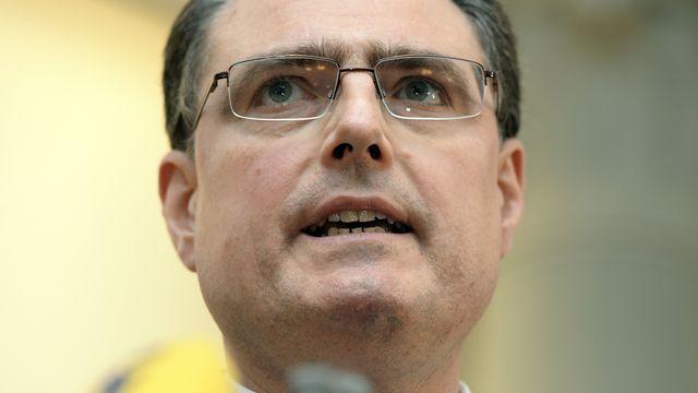 Thomas Jordan, président de la BNS, lors de sa conférence de presse jeudi. [Walter Bieri - Keystone]