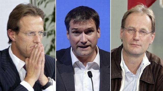 Christian Lüscher (PLR-GE), Christian Levrat (PS-FR) et Yves Nidegger (UDC-GE). [Steffen Schmidt/Martial Trezzini - Keystone]