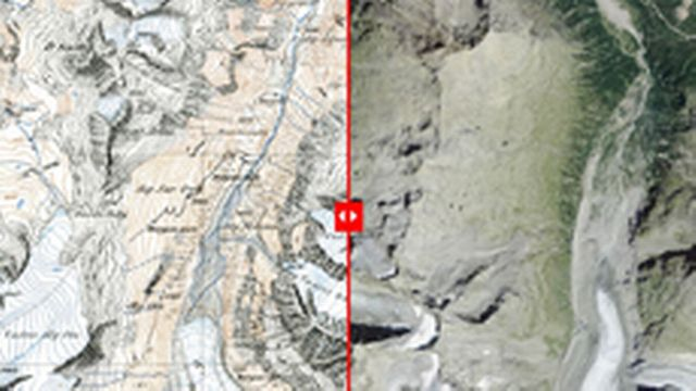 Le glacier de Morteratsch avant-après [swisstopo]