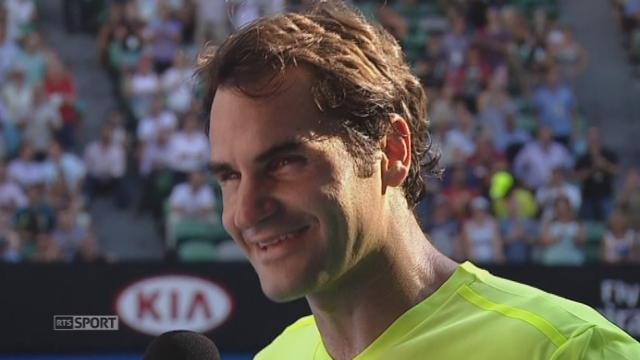 2e tour, Simone Bolelli (ITA) - Roger Federer (SUI) (6-3, 3-6, 2-6, 2-6): interview de Roger Federer [RTS]
