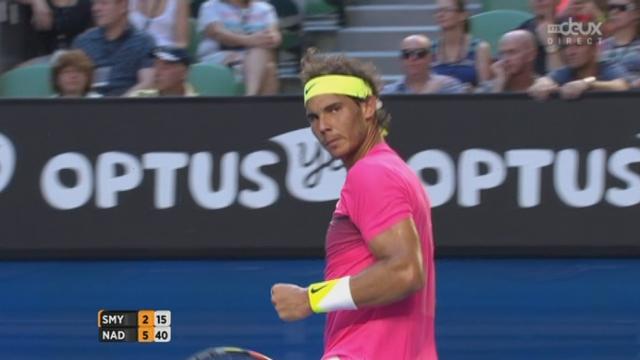 2e tour, Nadal-Smyczek (6-2): Rafa enlève rapidement le 1e set [RTS]
