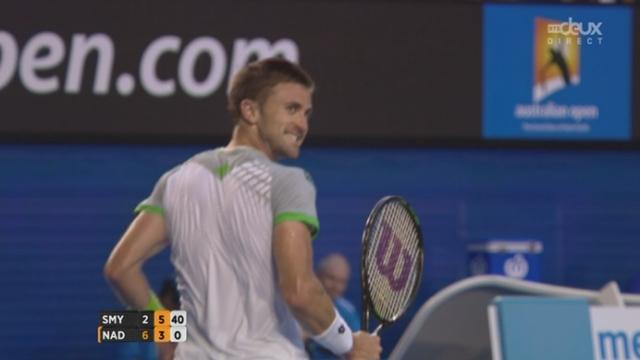 2e tour, Nadal-Smyczek (6-2, 3-6): Smyczek remporte la 2e manche en remportant trois fois le service de l'Espagnol [RTS]