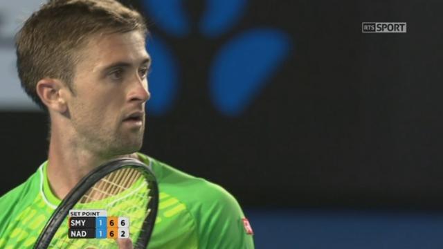2e tour, Nadal-Smyczek (6-2, 3-6, 6-7): Smyczek mène 2 sets à 1 en remportant le tie break et la 3e manche [RTS]
