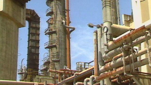 La raffinerie de Collombey en 1990. [RTS]