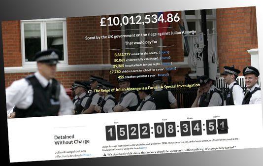Le coût global de la surveillance de Julian Assange a franchi la barre des 10 millions de livres, soit plus de 14 millions de francs, selon govwaste.co.uk. [govwaste.co.uk]
