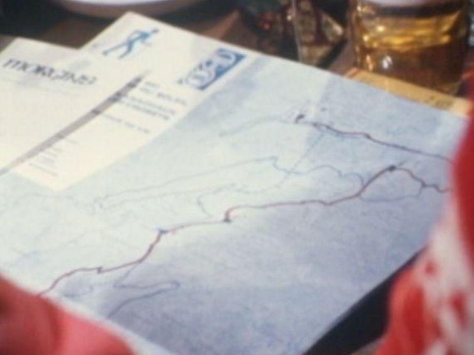 Le tracé de la piste de ski de fond aux Portes du soleil en Valais en 1974. [RTS]