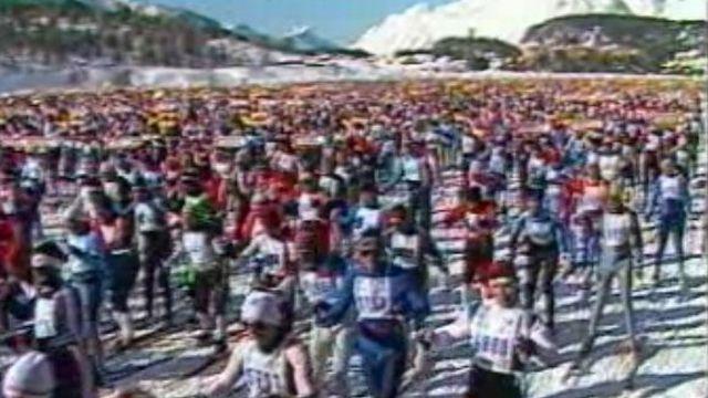 Marathon de ski de fond de l'Engadine en 1985. [RTS]