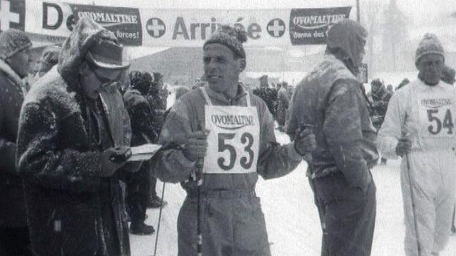 Une compétition de ski de fond dans les années 60. [RTS]