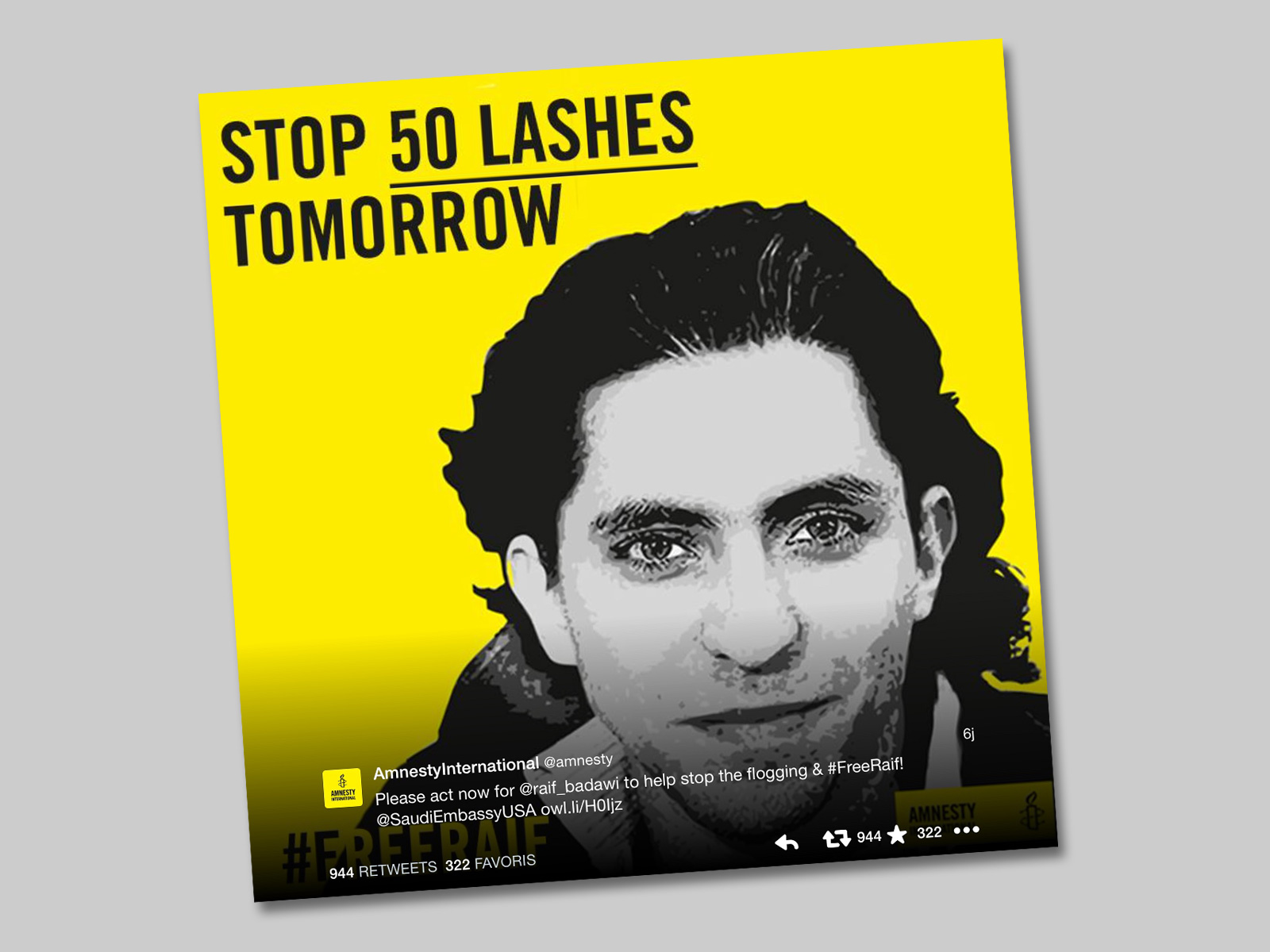 Opération #FreeRaif d'Amnesty International sur Twitter