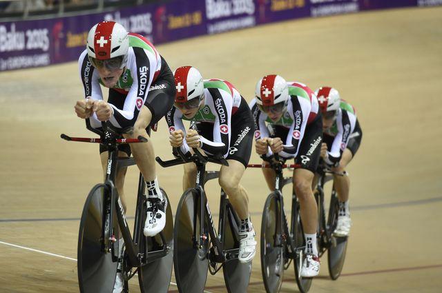 L'équipe suisse de poursuite sur piste lors du Championnat du monde de cyclisme de Saint-Quentin en février 2015. [Eric Feferberg. - AFP]
