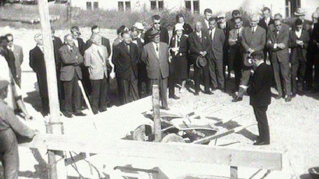 Chantier d'agrandissement de l'hôpital de La Chaux-de-Fonds en 1962. [RTS]