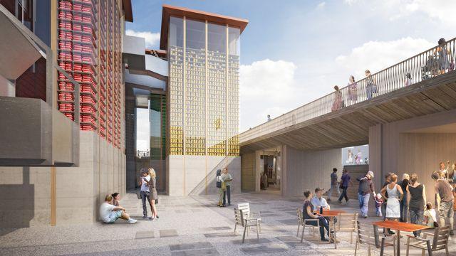 Image de synthèse de la cour intérieure du Pavillon suisse de l'Expo Milano 2015. [Présence Suisse/Nightnurse ]