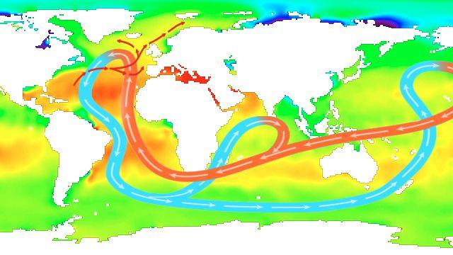 Courants de sel dans les océans. [ESA]