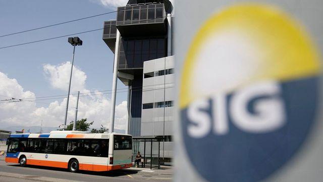 Le logo des Services industriels de Genève, les SIG. [Martial Trezzini - Keystone.]