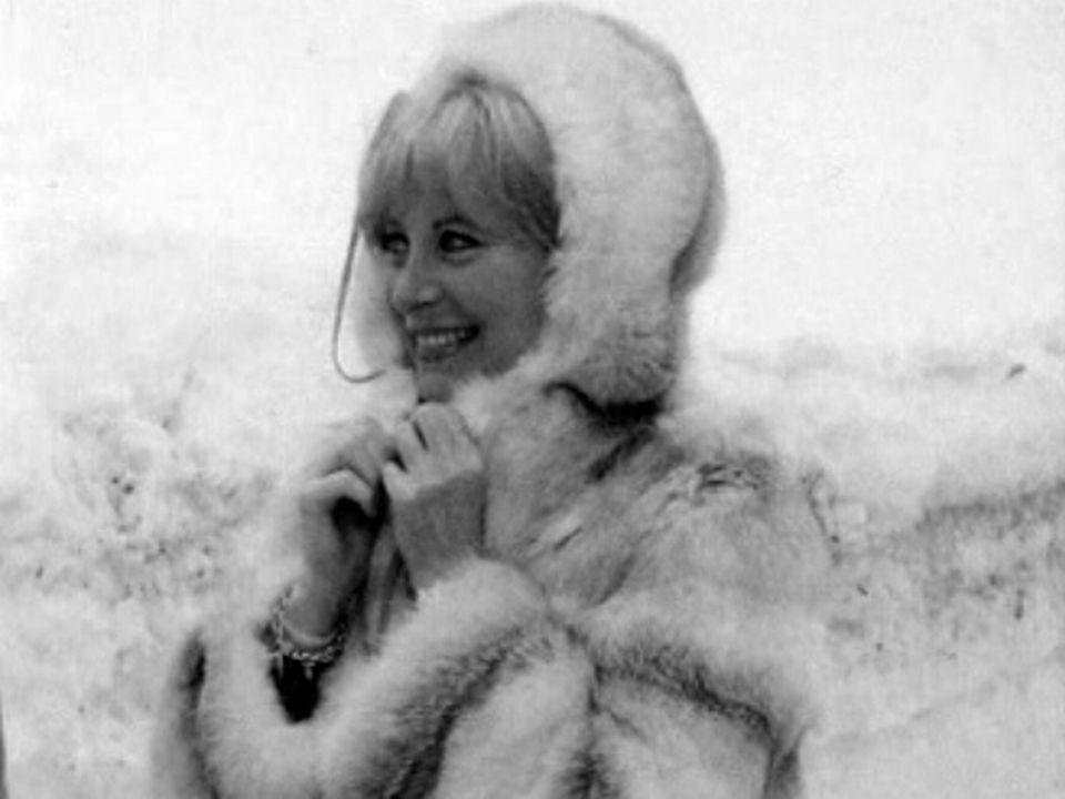 Vacances de neige à Crans pour Michèle Morgan.