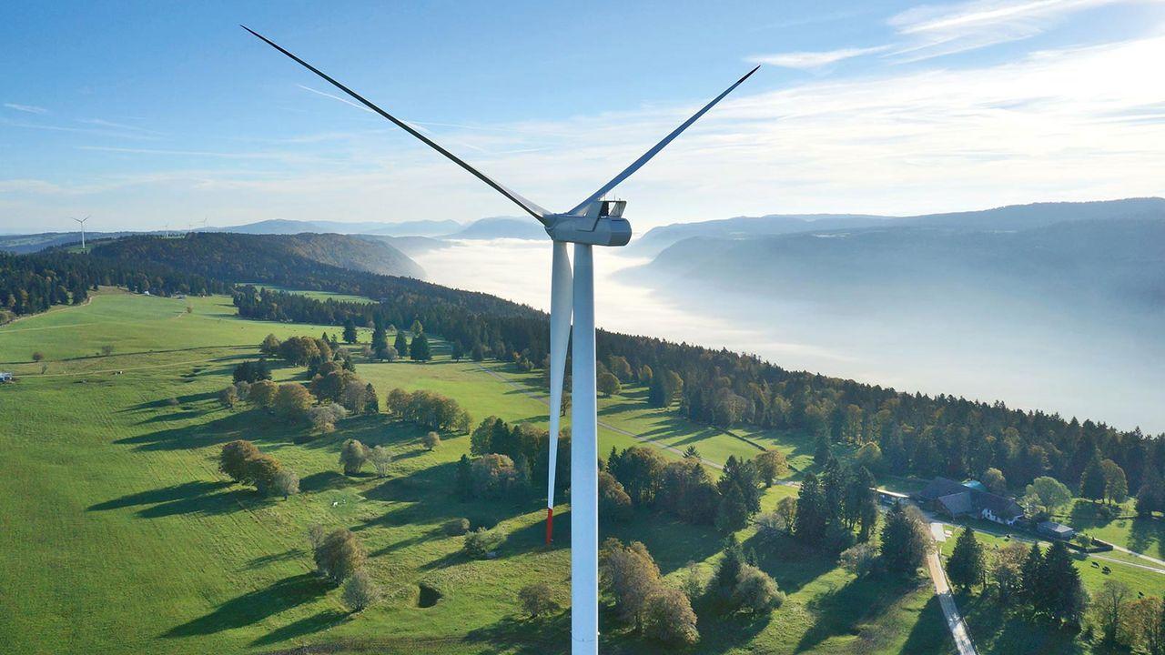 Le projet de parc éolien de Tramelan (image de synthèse) [oui-eoliennes.ch]