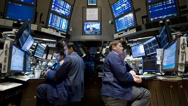 Des traders à la bourse de New-York en 2008. [Don Emmert. - AFP]