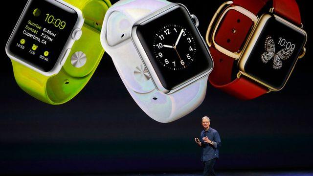 Le patron d'Apple, Tim Cook, a dévoilé la très attendue montre intelligente de la marque. [Monica Davey - EPA]