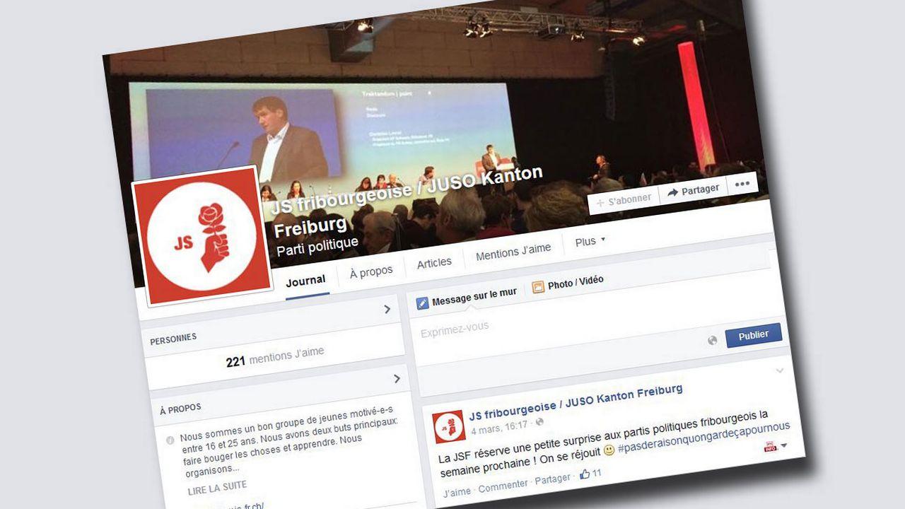 La page de la Jeunesse socialiste fribourgeoise. [Facebook]