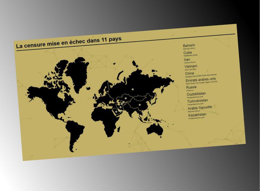 """Cette carte montre les 11 pays ciblés par RSF lors de son opération """"Collateral Freedom""""."""