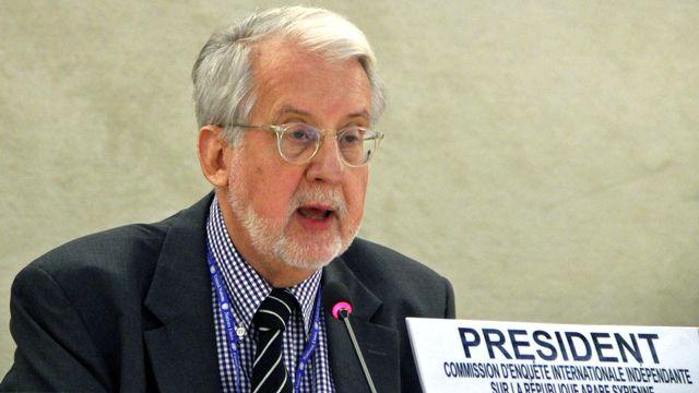 Le président de la commission d'enquête Paulo Sergio Pinheiro. [Fatih Erel - Anadolu Agency/AFP]