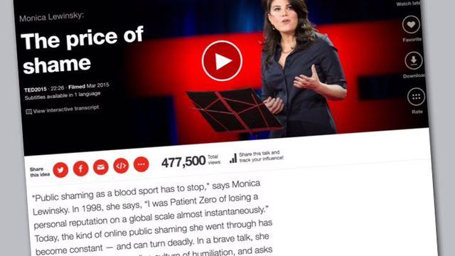 Capture d'écran de la conférence TED de Monica Lewinsky à Vancouver. [TED]