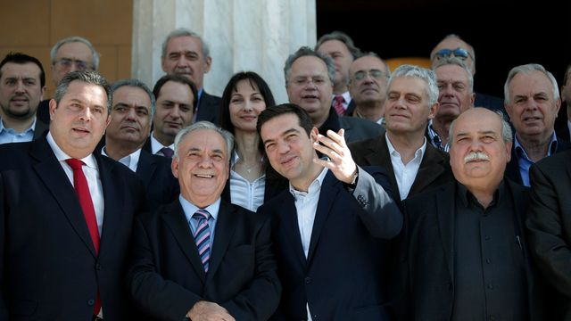 Le nouveau gouvernement grec emmené par Alexis Tsipras. [Lefteris Pitarakis - AP/Keystone]
