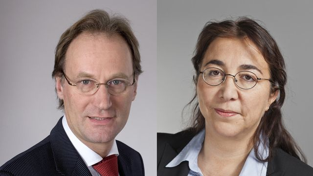 Yves Nidegger et Cesla Amarelle. [Gaëtan Bally - Keytone]