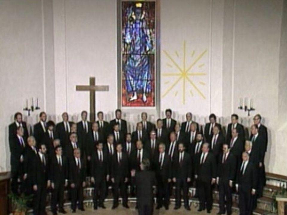 La chorale du Brassus dirigée par André Charlet chantant des chants populaires. [RTS]