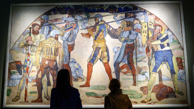 "La toile de Hodler ""Retraite de Marignan"" exposée au Musée national de Zurich. [Walter Bieri - Keystone]"