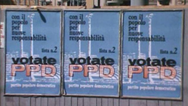 Affiches du Parti démocrate chrétien, Tessin, 1975 [RTS]