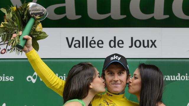 Le maillot jaune revêtu par Geraint Thomas symbolise la force déployée par l'équipe Sky dans ce CLM par équipes. [Jean-Christophe Bott - Keystone]