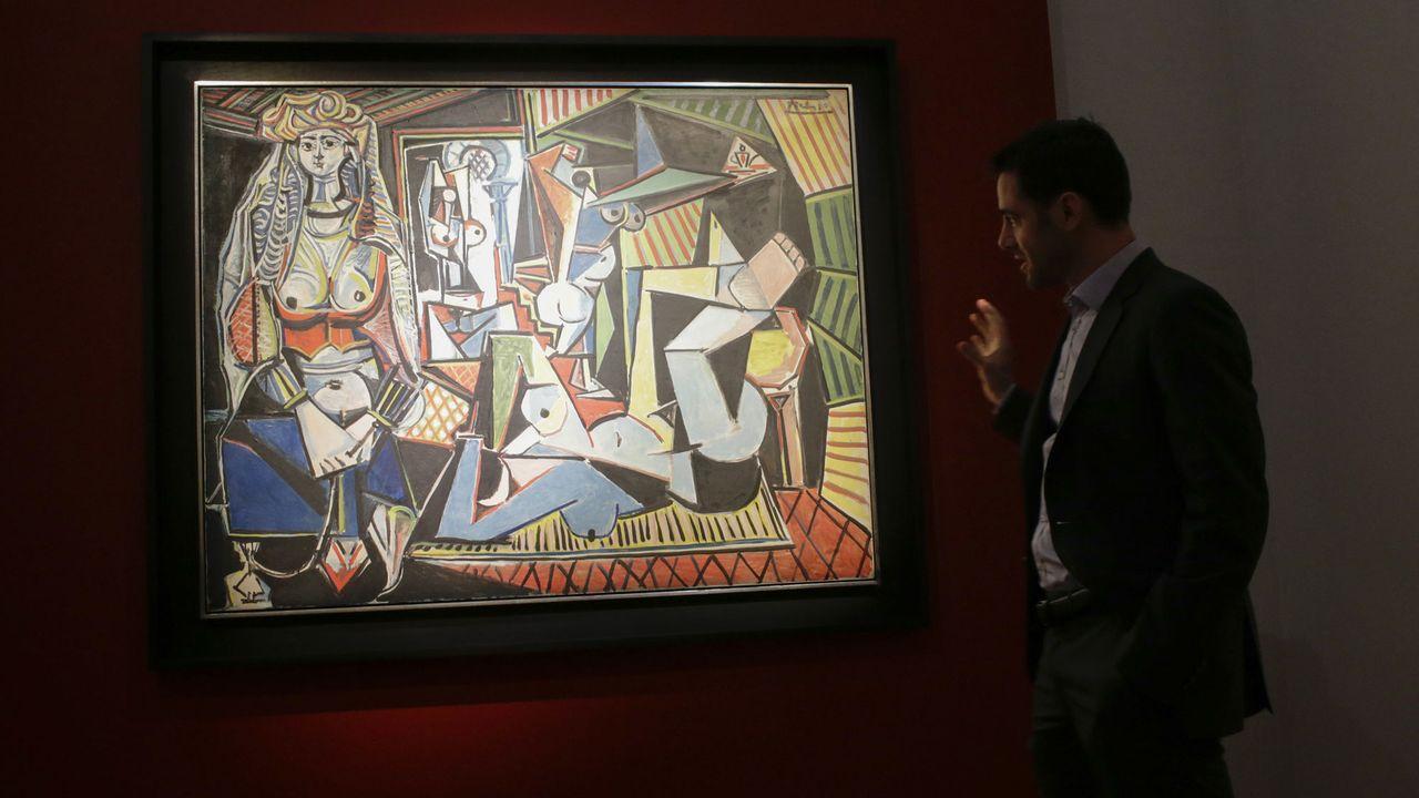 """La toile de Picasso """"Les Femmes d'Alger (version O)"""" exposée chesz Christie's à New York, 01.05.2015. [Eduardo Munoz Alvarez - AFP]"""