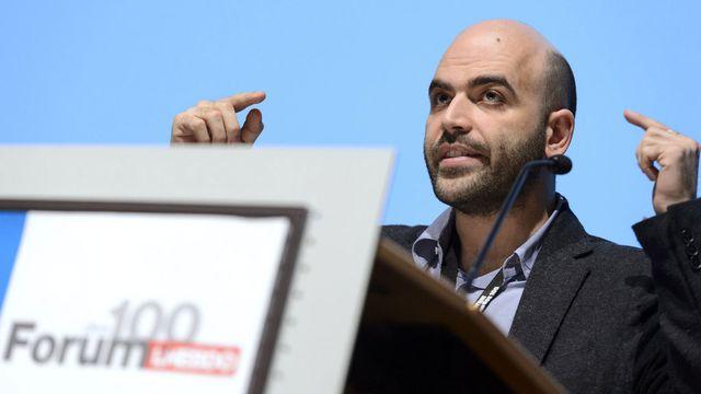Roberto Saviano jeudi 07.05.2015 à l'Université de Lausanne. [Laurent Gilliéron - Keystone]