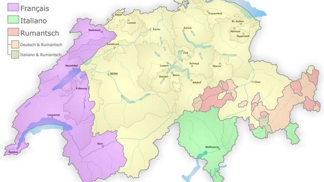 Répartition des langues en Suisse [wikipedia]