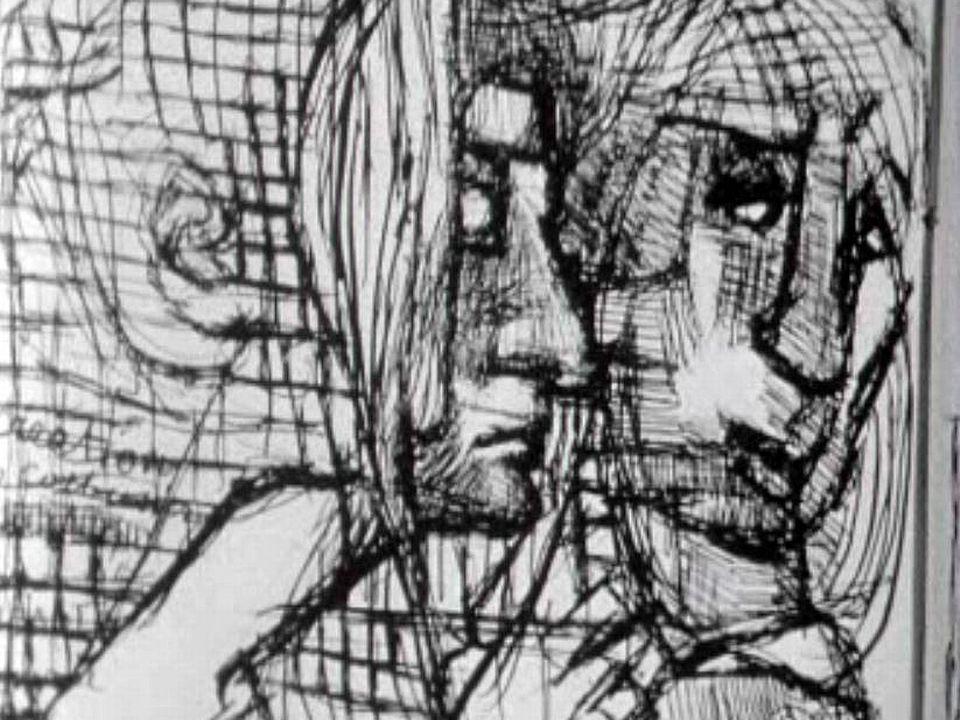 Interné à l'asile de Ballaigues, il dessine sans fin sur des cahiers d'écolier.