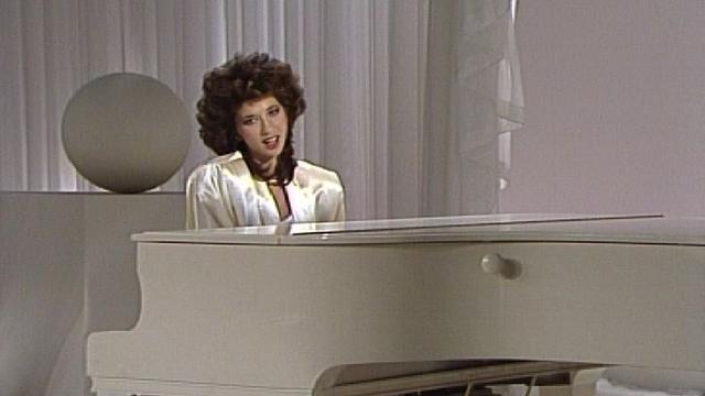 Daniela Simons, candidate suisse au Concours eurovision de la chanson, 1986. [RTS]