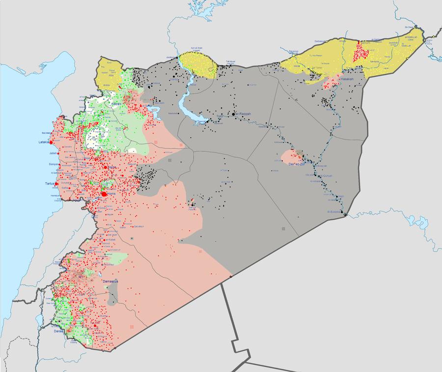 La carte de la situation en Syrie après la chute de Palmyre. En noir: territoire sous contrôle du groupe Etat islamique, en rouge contrôle du régime, en vert les rebelles, en jaune les Kurdes.