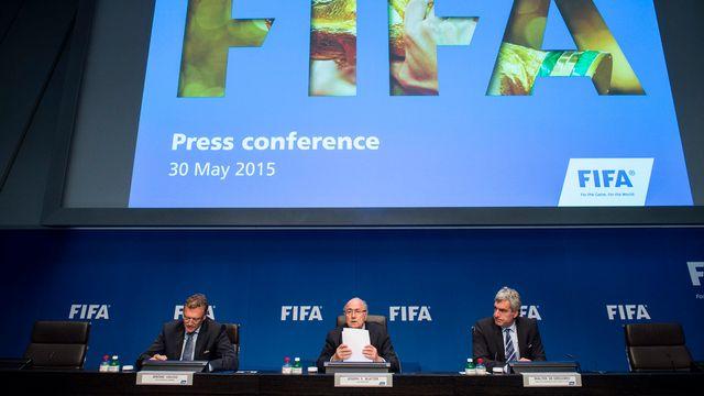 Conférence de presse de la FIFA le samedi 30 mai. [Ennio Leanza - AP/Keystone]