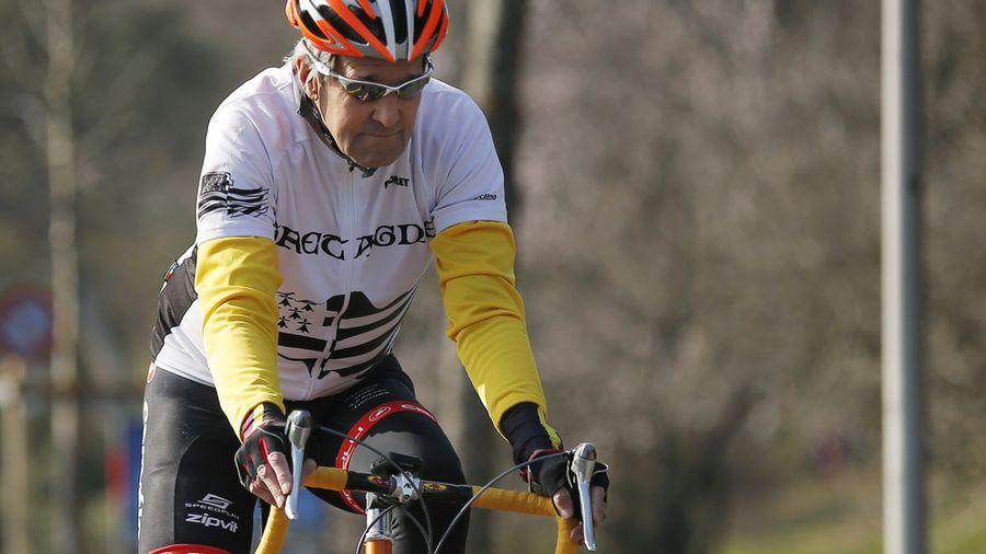 Le secrétaire d'Etat américain John Kerry lors d'une sortie à vélo à Lausanne, le 18 mars dernier.